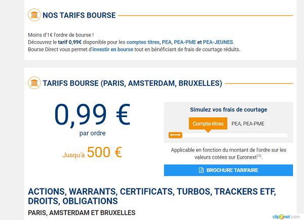 tarif bourse direct